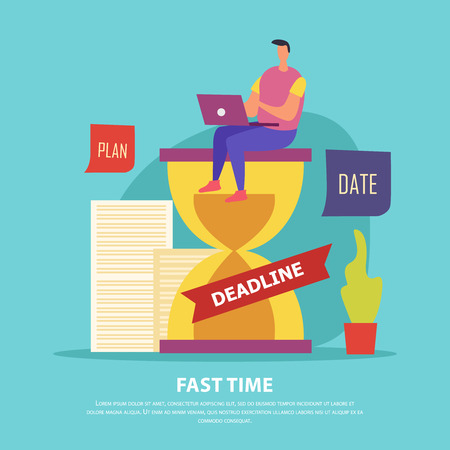 Fast time composition man on hourglass with laptop during work in deadline blue background flat vector illustration