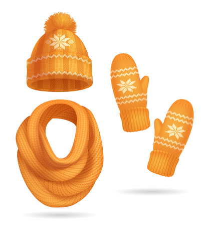 Winter yellow knitted clothes realistic set with hat and scarf isolated vector illustration