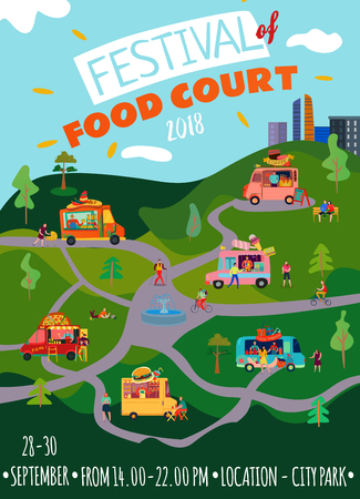 Food trucks poster with festival food court  symbols flat vector illustration Illustration