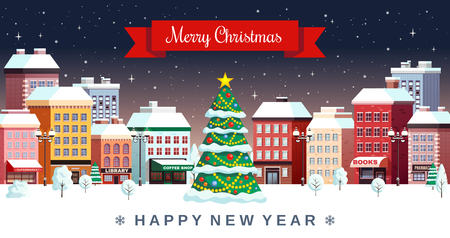 Christmas night festive snowy city center with decorated fir tree happy new year greeting card vector illustration Illustration