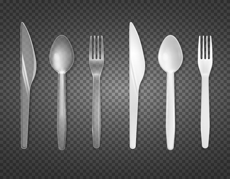 Disposable cutlery from clear and white plastic top view realistic tableware set transparent background isolated vector illustration Illustration
