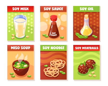 Soy food banners presenting milk sauce oil noodle meatballs miso soup products cartoon vector illustration
