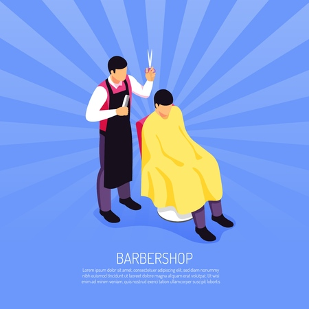 Male barber with professional tools during customer service on blue radial background isometric vector illustration