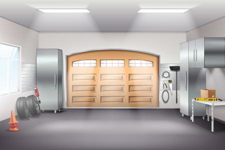 Composition réaliste d'intérieur de garage spacieux moderne avec des armoires de rangement d'outils, des pneus d'établi de panneau perforé, illustration vectorielle de porte coulissante