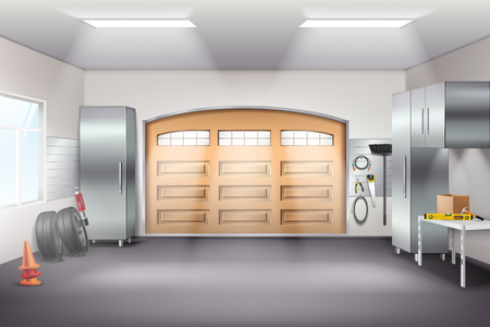 Modern spacious garage interior realistic composition with tool storage cabinets pegboard workbench tires sliding door vector illustration