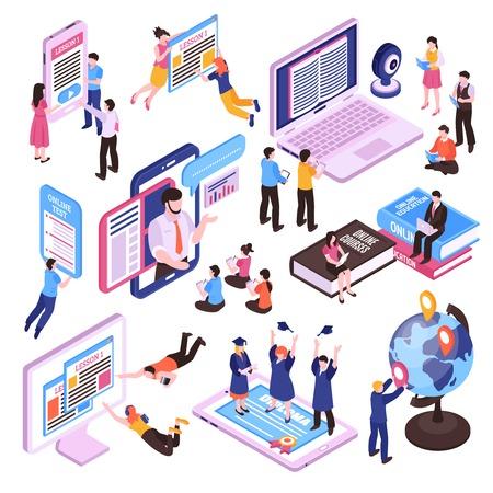 Lezioni online serie isometrica di studiare le persone utilizzando tablet pc e smartphone illustrazione vettoriale isolato isolated