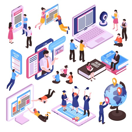 Online lessons isometric set of studying people using pc tablet and smartphone isolated vector illustration