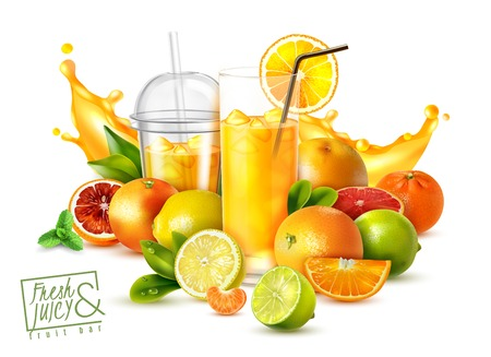 Realistic poster with citrus fruits and glasses of cold fresh juice on white background vector illustration