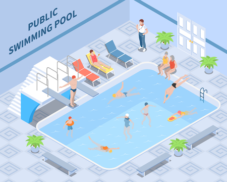 Public pool isometric composition with trainer visitors during swimming and rest interior elements vector illustration
