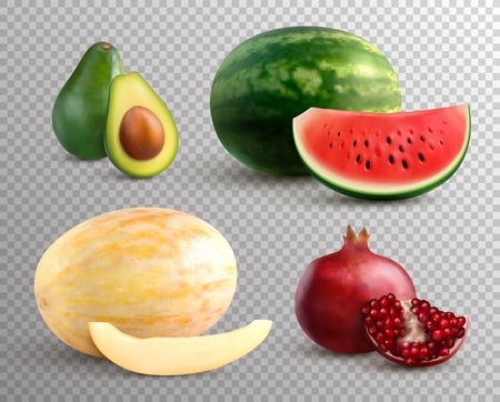 Realistic fruits set with ripe melon watermelon avocado and pomegranate isolated on transparent background vector illustration