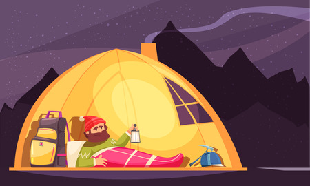 Mountaineering cartoon design with alpinist in sleeping bag holding lantern in tent at night vector illustration