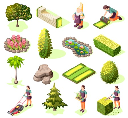 Landscaping set of isometric icons with design elements green lawn trees and bushes isolated vector illustration Illustration