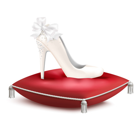 White decorated high heel wedding princess party bridal shoe on red satin pillow realistic composition vector illustration