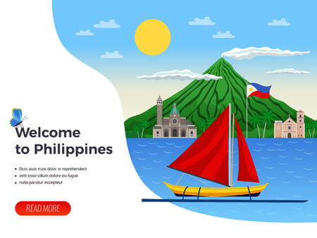 Tourism on philippines sail boat in blue sea on background of volcano and churches vector illustration Ilustrace