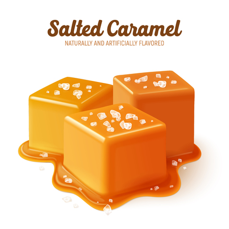 Colored and realistic salted caramel composition with naturally and artificially flavored headline vector illustration Çizim