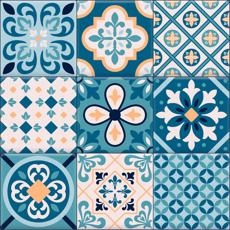 Colored and realistic ceramic floor tiles ornaments icon set for creation of different pattern vector illustration Reklamní fotografie - 113305488