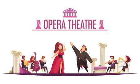 Opera theater premier aankondiging platte cartoon poster met 2 zangers aria prestaties en muzikanten op het podium vectorillustratie
