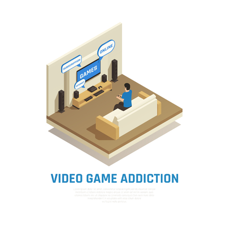 Internet smartphone gadget addiction isometric composition with view of living room with person playing video games vector illustration Illustration