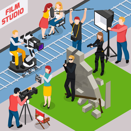 Film studio isometric composition with actors videographers sound engineer and illuminator during movie making vector illustration Illustration