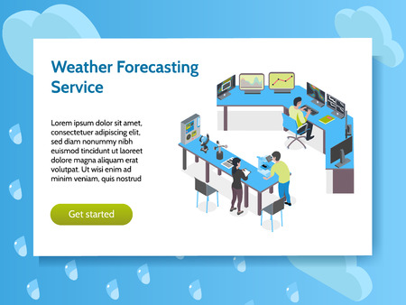 Isometric meteorological weather center concept banner with weather forecasting service headline and get started button vector illustration 版權商用圖片 - 113305680