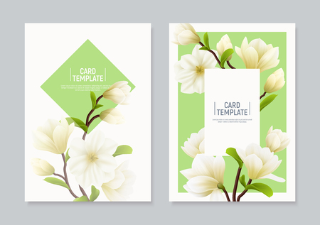 Two vertical colored realistic magnolia flower banner or flyer set with places for text and headline vector illustration Illustration