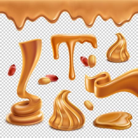 Peanut butter nutritious food spread paste  figures melted puddles droplets border realistic set transparent background vector illustration