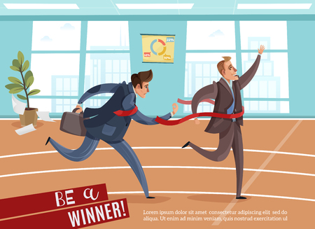 Business competition winner loser background with editable text and indoor view of office with athletic track vector illustration