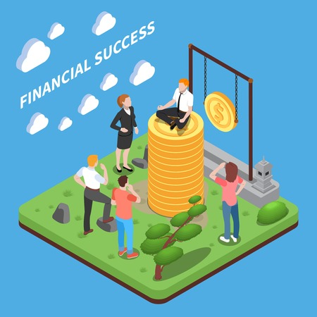 Financial success isometric composition human characters looking at man on top of heap of money vector illustration Illustration