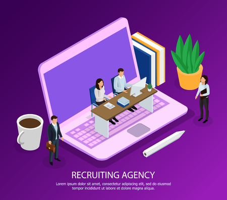 Staff of recruiting agency with computer and candidates for employment isometric composition on purple background vector illustration