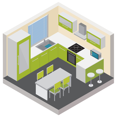 Kitchen interior isometric composition with modern furniture household gadgets and consumer electronics 3d vector illustration Vectores