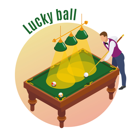 Billiards isometric composition with male player character aiming his stick to strike lucky ball into pocket vector illustration Stock Illustratie