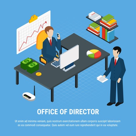 Business people isometric background composition with office interior elements images with top manager and subordinate employee vector illustration Çizim