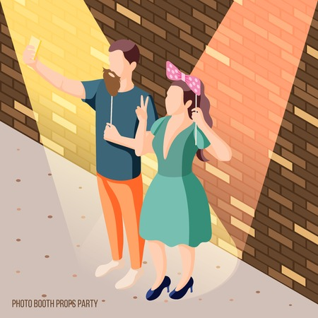 Photo booth party celebration isometric brick wall background poster with couple holding props in spotlights vector illustration Illustration