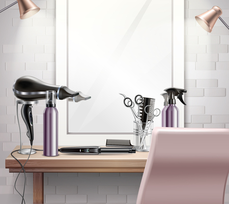 Hairdress tools for hairstyle and haircut composition with mirror realistic vector illustration Illustration