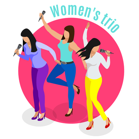 Karaoke isometric background with human characters of women trio singing favourite songs in ktv with text vector illustration