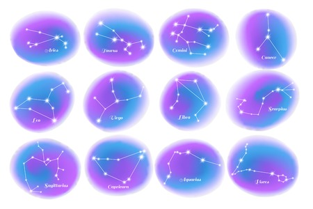 Astrology zodiac signs 12 colorful stars constellations charts elements with cancer scorpio virgo leo isolated vector illustration