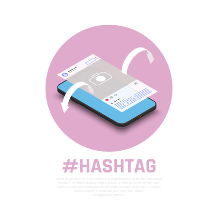 Hashtags for successful promoting products messages topics on social media isometric composition with smartphone marketing vector illustration Ilustrace