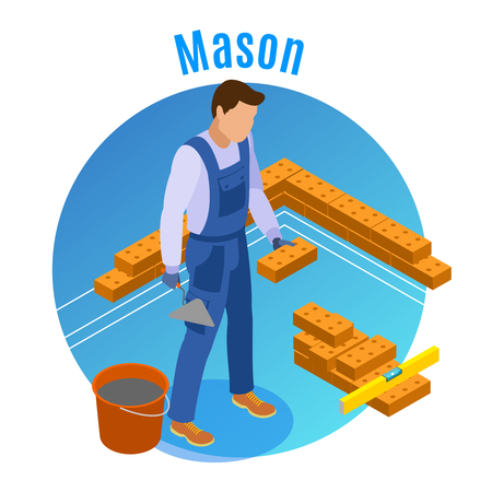 Craftsman isometric decorative round background composition with mason laying bricks with trowel cement and level vector illustration Illustration