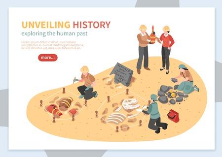 Esplorazione archeologica del concetto isometrico dei manufatti storici dell'insegna di web sull'illustrazione bianca di vettore del fondo