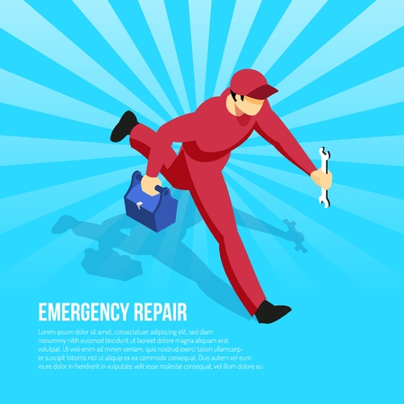 Mechanic in uniform with tools hurrying to perform emergency repair on blue radial background isometric vector illustration