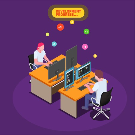 Game development isometric background with male and female developers at their workplace and looking on pc screen with program code vector illustration Illustration