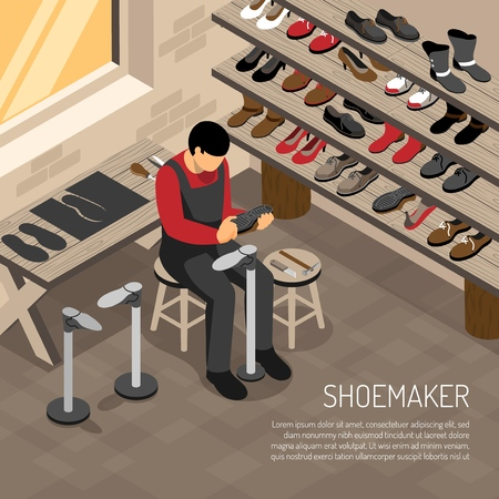 Shoe maker during work on background of shelves with foot wear isometric vector illustration