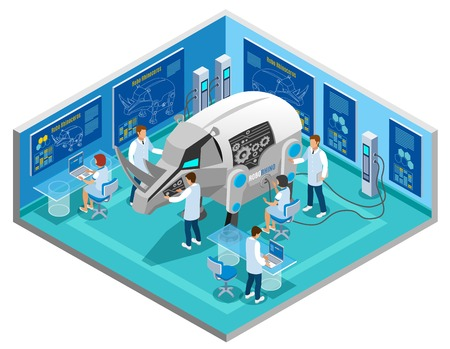 Bio robots replacing animal testing isometric composition with automated rhinoceros research procedure in scientific laboratory vector illustration