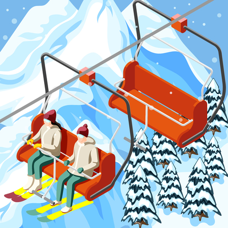 Skiers with sports equipment on funicular of ski resort on mountain background with spruces isometric vector illustration