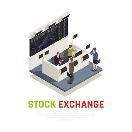 Stock exchange office reception desk service for mutual funds managers and individual investors isometric composition vector illustration