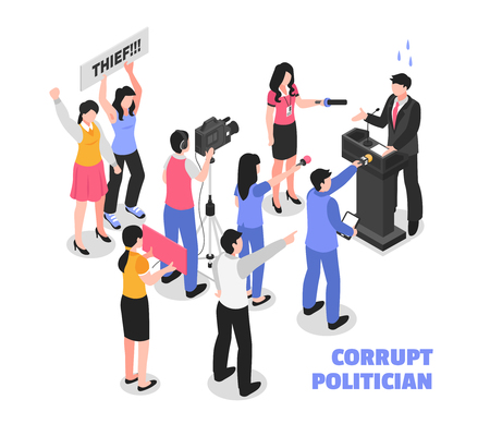 Corrupt politician white background with political thief speaking from tribune and protesting audience isometric vector illustration Illusztráció