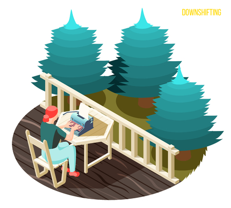 Downshifting work stress escaping people isometric composition with freelance writer typing on balcony in countryside vector illustration
