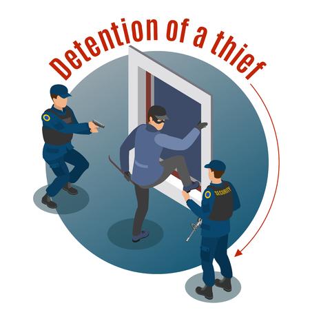Isometrische runde Hintergrundzusammensetzung der Sicherheitssysteme mit Einbrecherarrest durch bewaffnete Überwachungsbeamte Tatort-Vektorillustration Vektorgrafik