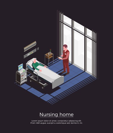 Nursing home isometric background with personal visiting elderly patient lying in bed vector illustration
