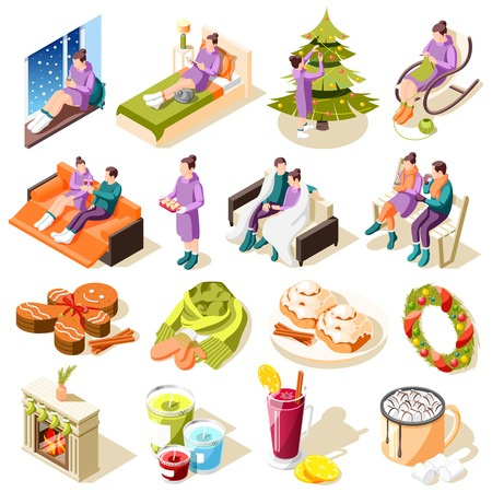 Cozy winter isometric icons with home comfort hobbies festive food and decorations isolated vector illustration